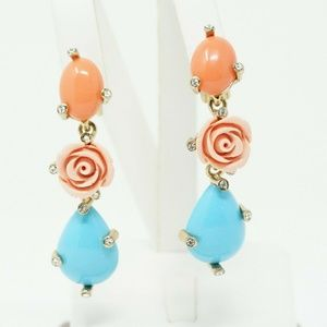 Gold Tone Crystal Rose Drop Earrings - Haute Coutu